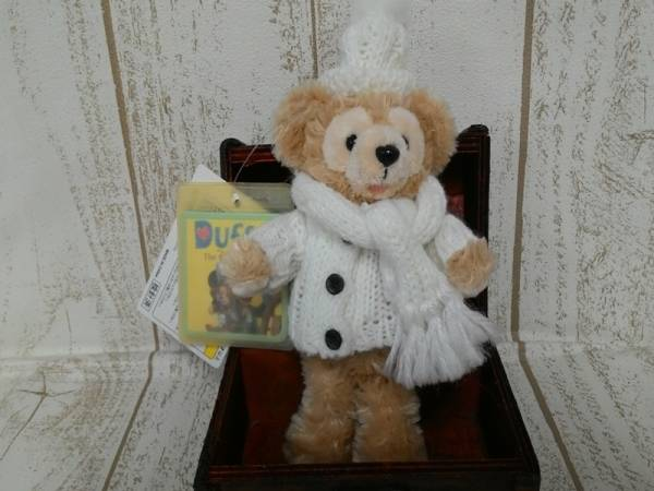 ダッフィー ぬいぐるみバッジ 2007白セーター オープンマウス 白タグ