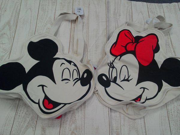 ディズニー ミッキー&ミニー フェイス型トートバッグ 2点 ディズニーストア-2