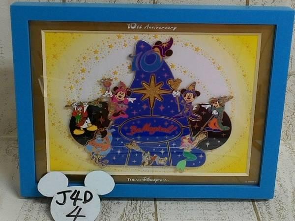 ミッキー&ミニー&アリエル&ジーニー他 TDS10周年 フレーム入りピンバッジ ビーマジカル