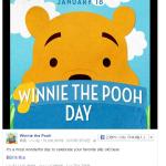 1月18日は、ダッフィーではなく、元祖クマキャラクター『クマのプーさんの日』です♪ただ、SNSで勝手に盛り上がっているネタですが。。