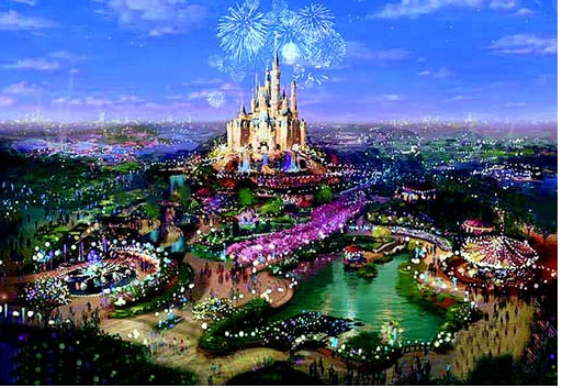 上海ディズニーリゾートは6月16日に開園!年間1000万人の入場者を見込んで広さもほぼ同じくらい。ただ、あれが世界のディズニーパークでは一番高いらしいです。