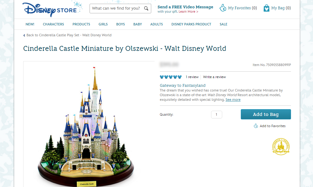 Cinderella Castle Miniature by Olszewski   Walt Disney World   Figurines   Keepsakes   Disney Store img